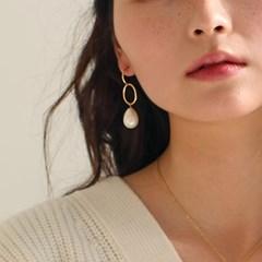 oval line pearl earring