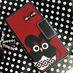 갤럭시S9플러스 (G965) HippieChouette-Black 지갑 다이어리 케이스