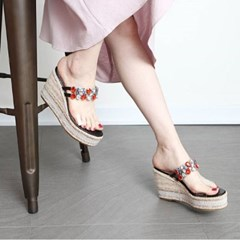 kami et muse Clear band platform wedge heel slippers_KM19s178