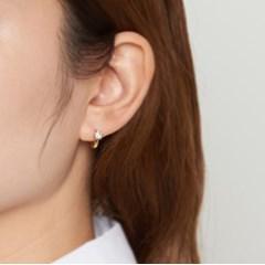 [925실버] 골드 큐빅 미니원터치 귀걸이