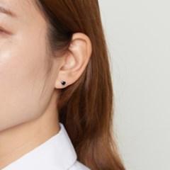 [925실버] 오닉스 미니하트 귀걸이