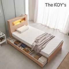 루디 LED/평상형/수납형 침대 프레임 퀸