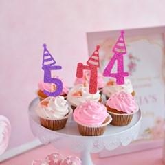 글리터 데코픽 (숫자) 생일고깔