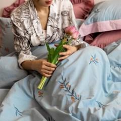 아로새긴자수꽃파란 자수이불 60수 호텔침구 봄이불세트