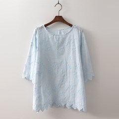 Cotton Floral Embroidery Blouse