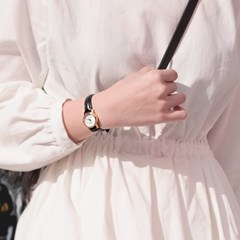 CASIO 카시오 여성시계 가죽밴드 빈티지 넘버 화이트