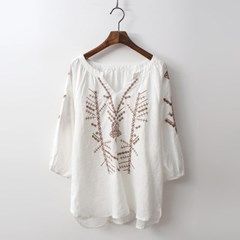 Linen Choco Broderie Blouse
