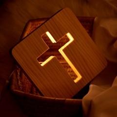 십자가 원목 LED무드등 수면등 침실조명 집들이선물