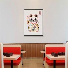 유니크 일본 인테리어 디자인 포스터 M 마네키네코2 대길 복고양이