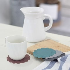 실리콘 플라워 컵받침 4P세트