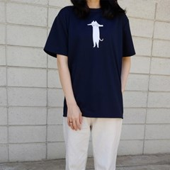 드라이 티셔츠 _ Long cat series (navy)