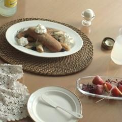 심플타원 접시: 가로 30cm 1인 사이즈