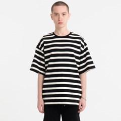 오버핏 빅 스트라이프 티셔츠 블랙 JBT00034
