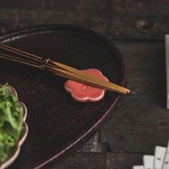 일본 로카쿠 벚꽃 도자기 수저받침 2컬러_(1324172)