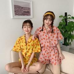 [안녕잘자] 당일발송 오렌지 여름반팔 잠옷세트