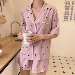 [안녕잘자] 당일발송 레이스하트 여름반팔 잠옷세트