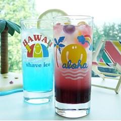 하와이 레인보우 유리컵