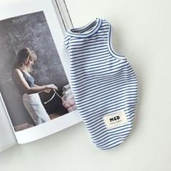 [T.아톰스트라이프민소매]Atom stripe sleeveless T_Blue