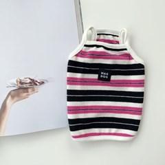 [T.마크크롭티셔츠]Mark stripe crop T_Pink