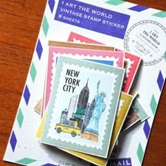 세계를 담은 빈티지 우표 스티커 팩 - 그린[GREEN]