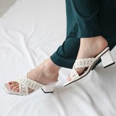 kami et muse Mesh pattern corss strap heel slippers_KM19s226