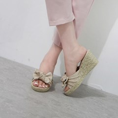 kami et muse Tied ribbon wedge heel slippers_KM19s222