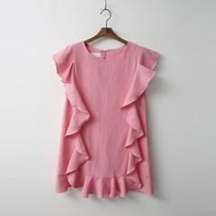 Linen Frill Mini Dress