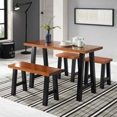 [잉카]베르제 A형 원목 식탁 세트4인 벤치+의자 2컬러