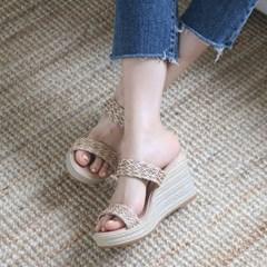 kami et muse Rattan strap wedge heel slippers_KM19s235