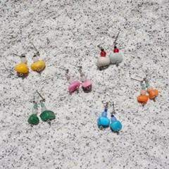 컬러블록 원석 귀걸이 (6colors)