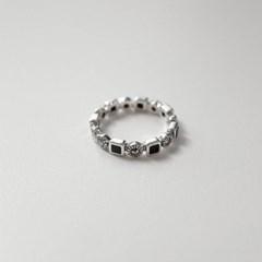 실버 엔틱 큐브 오닉스 반지 자개 은반지