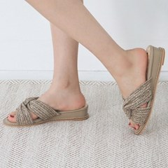 kami et muse Rattan strap mini wedge slippers_KM19s245