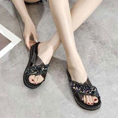 kami et muse Cross strap spangle slippers_KM19s244