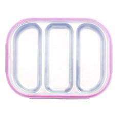 팝핑팝콘 3구 핑크 유아식판 뚜껑+파우치 포함