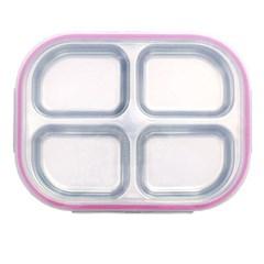 스텐 아기 유아 4구 도시락 식판 찬합 핑크 유아식판