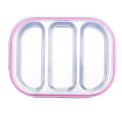 스텐 다이어트 유아 3구 도시락 식판 핑크 유아식판