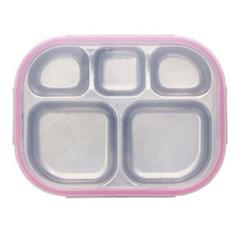 스텐 다이어트 유아 일자 도시락 식판 핑크 유아식판
