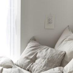 French linen duvet cover Gray stripe