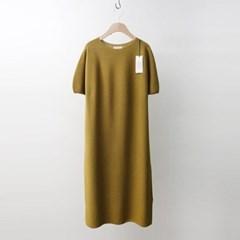 Hoega Linen Puff Knit Long Dress - 반팔