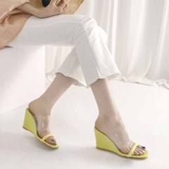 kami et muse Clear top enamel wedge heel slipprs_KM19s250