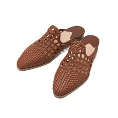 Mesh Loafer Flat Mule Brown_2cm