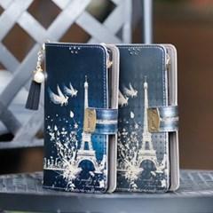 LG X6 2019 (LG X625) Encanto-Eiffel2-T 지퍼 지갑 다이어리 케이스