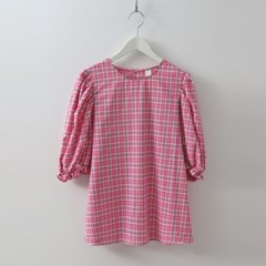 Check Puff Blouse