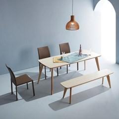 엘르 모던 화이트오크 자작나무 원목식탁 1800 테이블