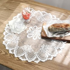 레이스 원형 테이블매트 2P 도일리 식탁매트