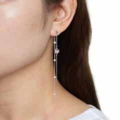 롱 체인 큐브 귀걸이
