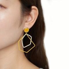 칼라 포인트 큐빅 도형 귀걸이