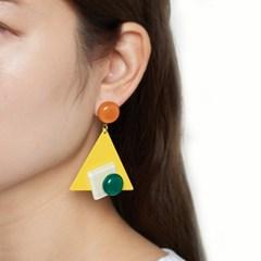칼라 도형 빅 포인트 귀걸이