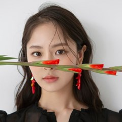 red petal drop earrings