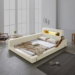 파로마 로렌스 LED 고급가죽 저상형 침대 퀸(Q)_높은수납형